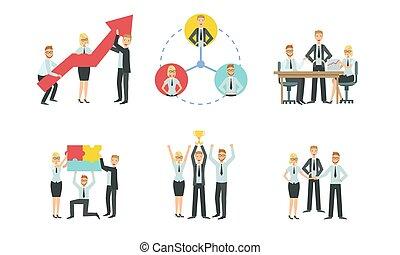 négociation, bureau fonctionnant, gens, ensemble, illustration, concurrence, business, collaboration, vecteur, réunion, caractères