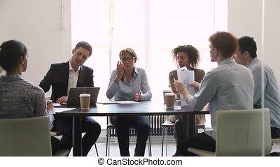 négociation, groupe, femme, business, conversation, divers, ...