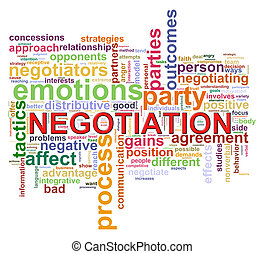 négociation, mot, étiquettes