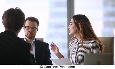 négociation, partenaires, termes, affaires contractent, ...