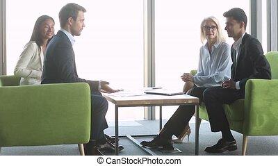 négociation, poignée main, groupe, réussi, hommes affaires, ...
