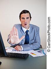 négociation, sien, bas, calme, associé, homme affaires,...
