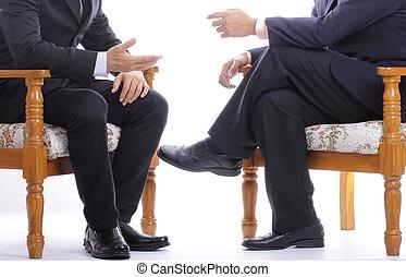 négociation, sur, cadre affaires, leur, directeur, parler