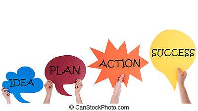 négy, beszéd, léggömb, noha, gondolat, terv, akció, siker
