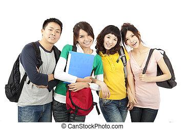 négy, diákok, fiatal, boldog