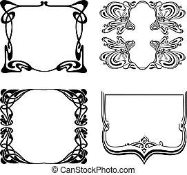 négy, fekete-fehér, rajzóra deco, frames., vektor,...