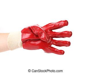 négy, fingers., kiállítás, gloved kezezés