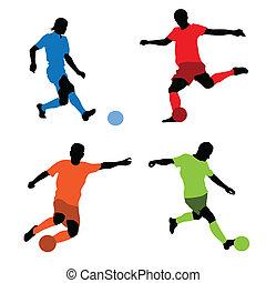 négy, futball játékos, körvonal