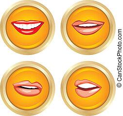 négy, gombok, női, mosoly