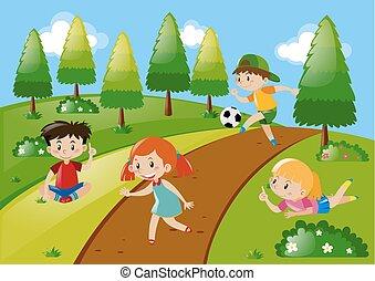 négy, gyerekek, játék, a parkban
