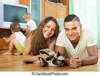 négy, játék, család, cica
