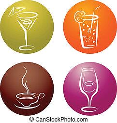 négy, jel, különböző, ital, ikon