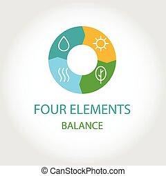 négy, jel, természetes, elements.