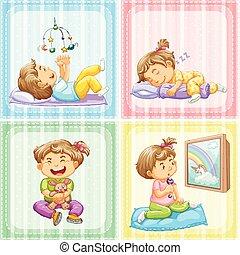 négy, különböző, totyogó kisgyerek, akciók
