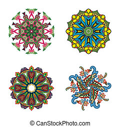 négy, karika, állhatatos, virág, mandalas