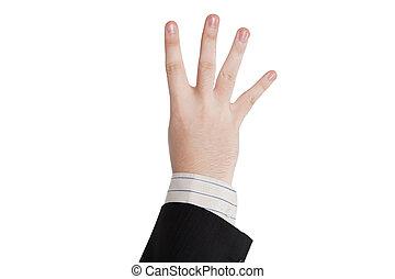 négy, kiállítás, hím, ujjak, kéz