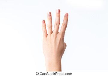 négy, kiállítás, ujjak, női kezezés