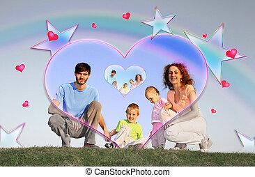 négy, kollázs, család
