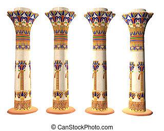 négy, oszlop, egyiptomi