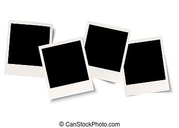 négy, polaroids, noha, árnyék, alatt, sorozat