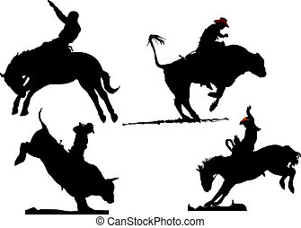 négy, rodeó, silhouettes., fekete-fehér, vektor, ábra