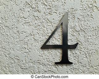 négy, szám, wall.