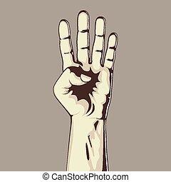 négy, számol, kiállítás, kéz