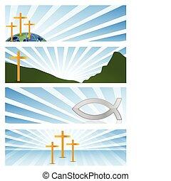 négy, szalagcímek, vallásos ábra