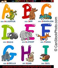 német, abc, állatok, karikatúra