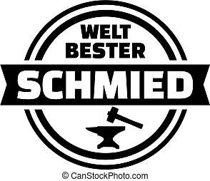 német, blacksmith., világ, legjobb, button.