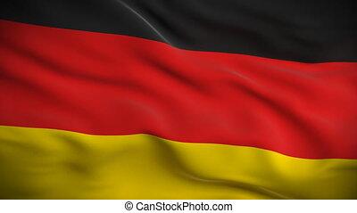 német, hd., lobogó, looped.