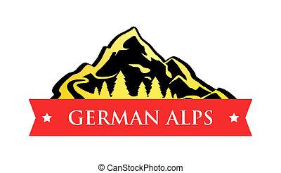 német, jel, vektor, alpok