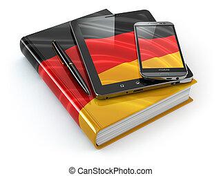 német, learning., mozgatható, berendezés, smartphone, tabletta pc, és, könyv