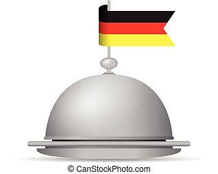 német lobogó, tál, vacsora