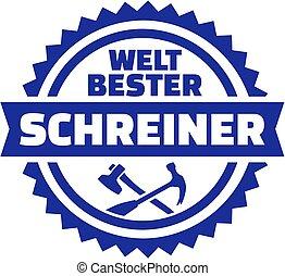 német, műbútorasztalos, embléma, világ, legjobb