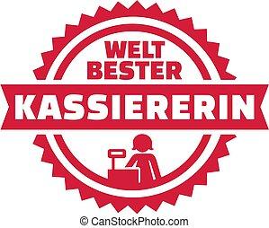 német, pénztáros, embléma, világ, legjobb