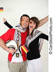 német, rajongó, futballcsapat