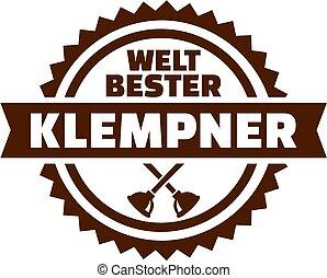 német, vízvezeték szerelő, embléma, világ, legjobb