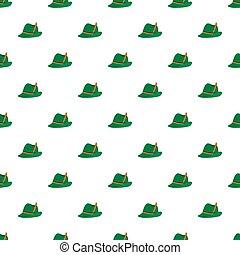 német, zöld kalap, seamless, motívum