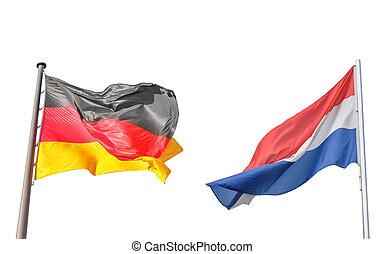 németország, és, netherlands lobogó