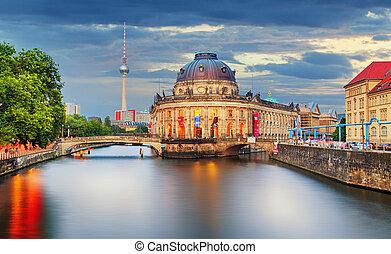 németország, berlin, -ban, félhomály