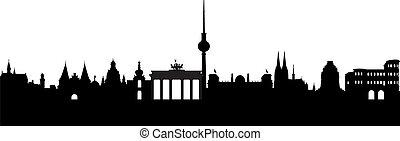 németország, elvont, árnykép