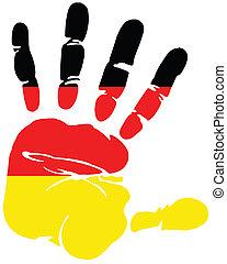 németország, handprint