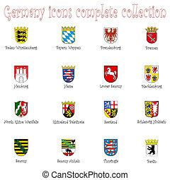 németország, ikonok, gyűjtés, ellen, fehér