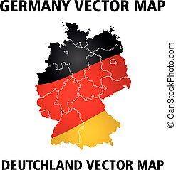 németország, vektor, map., befest, közül, nemzeti lobogó