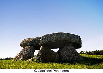 néolithique, île, moen, danemark, pierre, tombe