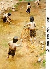 néolithique, corée, chasseur, modèle, sud