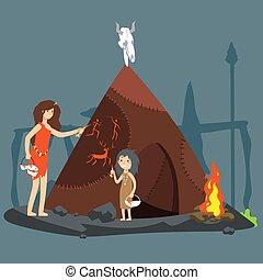 néolithique, femme, illustration., âge, pierre, vecteur, girl, dessin animé