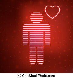néon, ícone, amor, homem