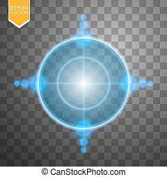 néon, alvo, isolated., jogo, interface, element., vetorial,...